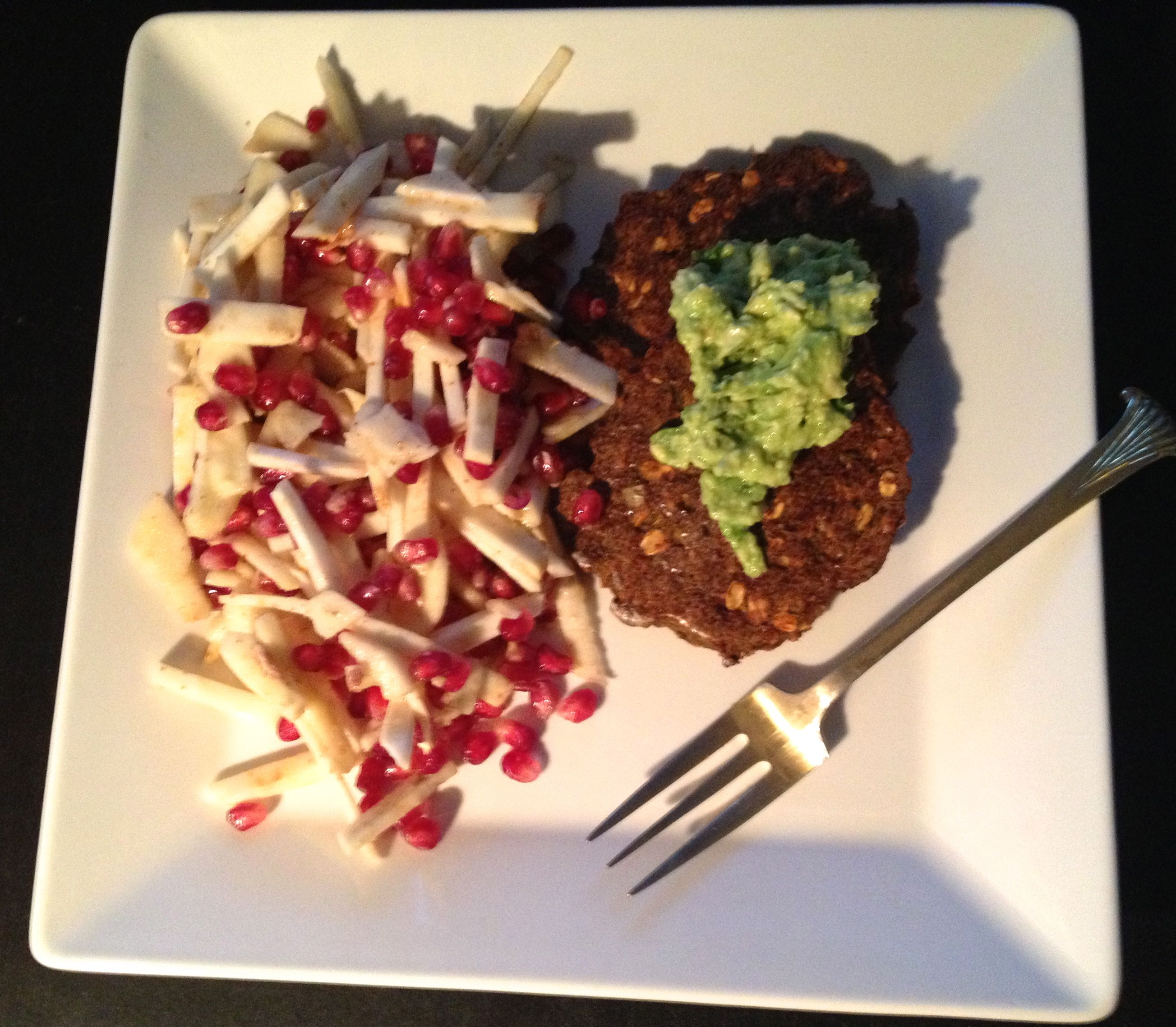 Roasted Veggie Burger and Celery Root Salad